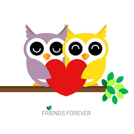 Hugging Owls Postcard Vector illustration isolated on white background Illustration