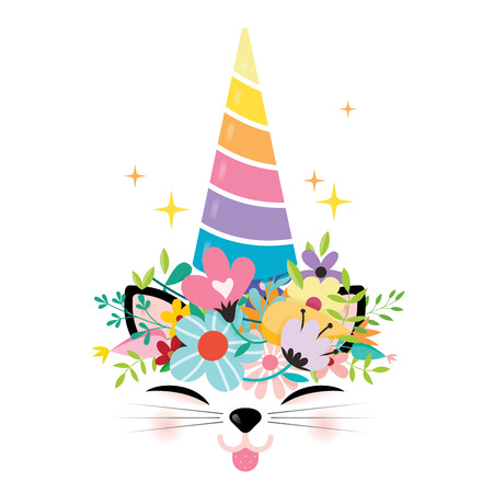 cute unicorn cat isolated on white background. easy to use to design posters, T-shirts, invites, etc...