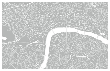 White and grey vector city map of London cleverly organized with layers