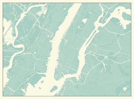 New York USA Map in Retro Style