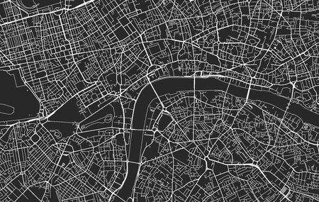 Black and white vector modern city map of London organized in separated layers Ilustração