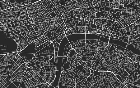Carte de la ville moderne vectorielle en noir et blanc de Londres organisée en couches séparées Vecteurs