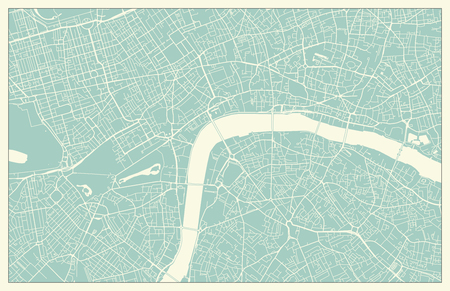 Modern London city center street Map in Vintage Style Ilustrace