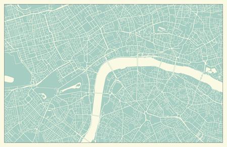 Modern London city center street Map in Vintage Style Illustration
