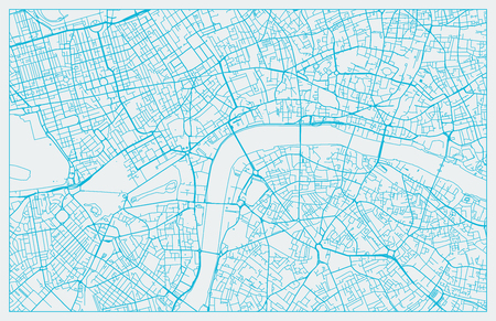 White and Blue vector city map of London cleverly organized with layers Illustration