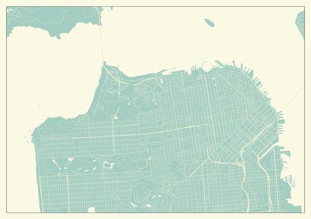 San Francisco USA Map in Retro Style