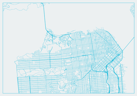 San Francisco California blue street map texture