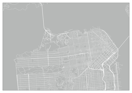 Vector city map of San Francisco