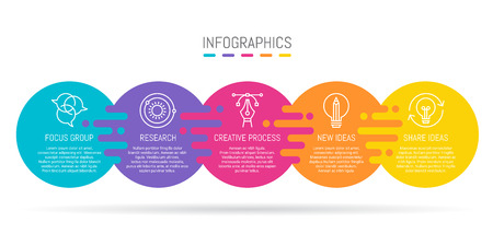 Infographic design with 5 circle shaped area with an icon illustration and copy space connected by irregular circular lines forming a flow chart or progress chart or timeline. Stok Fotoğraf - 118916888