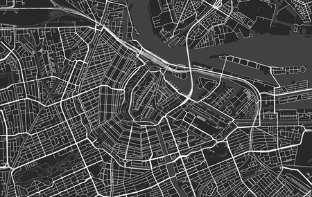 Black and white vector modern city map of Amsterdam organized in separated layers