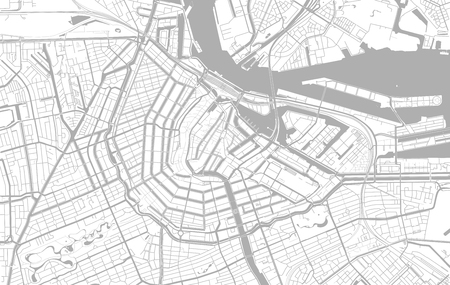 White and grey vector city map of Amsterdam cleverly organized with layers  イラスト・ベクター素材