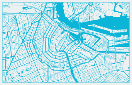 White and Blue vector city map of Amsterdam cleverly organized with layers
