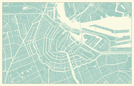 Modern Amsterdam Map in Vintage Style Vectores