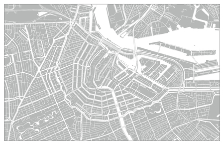 White and grey vector city map of Amsterdam cleverly organized with layers Illustration