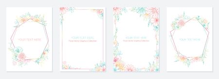 Wedding invitation frame set; flowers, leaves, isolated on white. Sketched wreath, floral and herbs garland with green, greenery color. Handdrawn Vector style, nature art Illustration