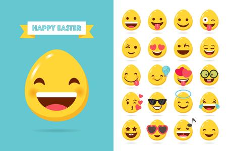 Easter emoticons. Egg emoji in flat style isolated on white background Illustration