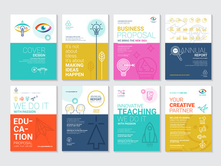 Vector globe brochure template set. Abstract arrow design and creative magazine idea, blank, book cover or banner template, paper, journal.
