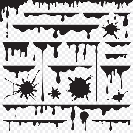 Black dripping oil stain, liquid drips or paint current vector ink silhouettes isolated Illustration
