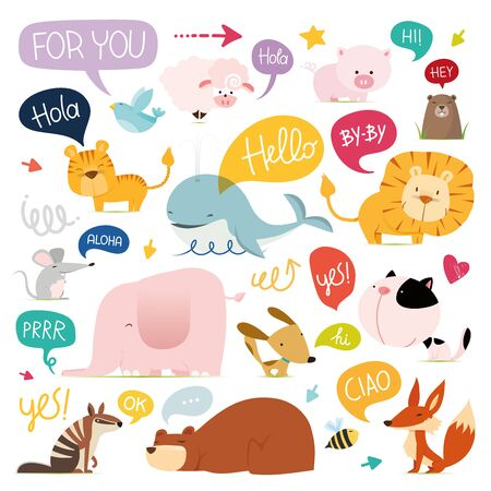 Collection of handrawn animals and speech bubblesin trendy doodle style - animals, plants, symbols. Colorful vector illustration for T-shirt or sweatshirt print