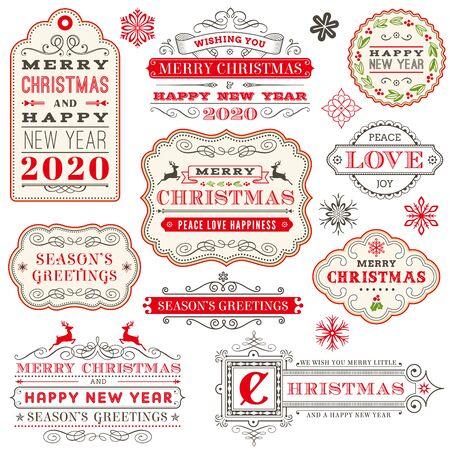 Etichette e distintivi decorati tipografia vettoriale di Natale, auguri di felice anno nuovo e vacanze invernali per biglietto di auguri