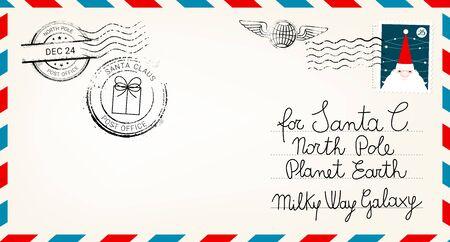 Estimado sobre de correo de santa claus. Carta de sorpresa navideña, postal infantil con ilustración de vector de cachet de matasellos del polo norte