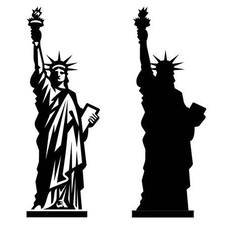 Statue of Liberty. New York landmark. American symbol. Vector silhouette