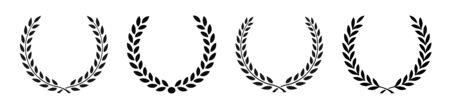 Set black silhouette circular laurel foliate, wheat and oak wreaths depicting an award, achievement, heraldry, nobility on white background. Emblem floral greek branch flat style - stock vector 向量圖像