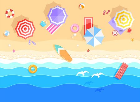 Top view on summer sea beach. Top view on ocean beach with soft waves. Beautiful background with seashells on sea sand. Vector illustration with plant's shadows Illustration