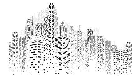 Abstrakter Stadtvektor, transparente Stadtlandschaft, Punkt-Gebäude in der Nachtstadt