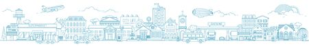 Monochrome horizontal urban landscape with city or town street or district. Cityscape with living houses and shops drawn with contour lines on white background. Vector illustration in lineart style