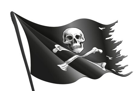Wavy black pirate flag with bone and skull is on the flagpole. Symbol of piracy. Vector illustration