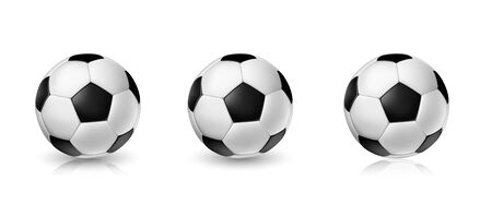 Vector soccer ball set. Tree Realistic soccer balls or football balls on white background Ilustração