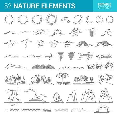 The Weather flat icons. Black Illustration