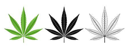 Black and Green Cannabis Leaf . Logo Design