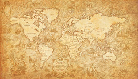 Old map of the world on a old parchment background. Vintage style.