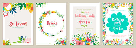 Set of floral universal artistic templates. Good for greeting cards, invitations, flyers and other graphic design Illustration