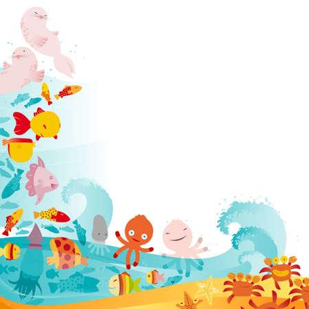 An underwater animals border