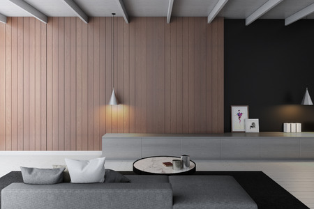 living room wall: modern living room with wooden wall