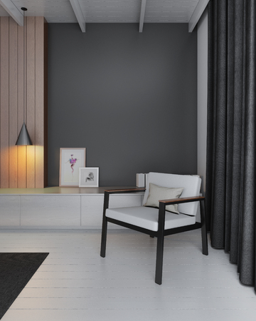 living room wall: modern living room with black wall