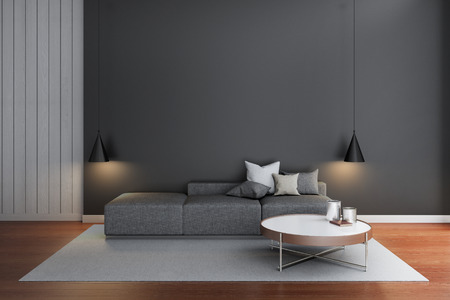 living room wall: simple living room with black wall Stock Photo