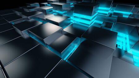 3d Tech background Grid light