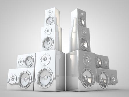 3d: white 3d Speaker render Stock Photo