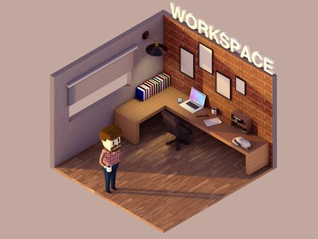 works: low poly works pace hipster room