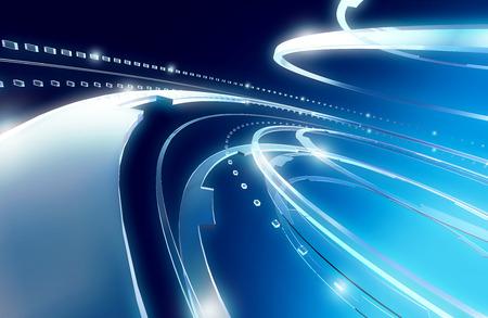 la technologie illustration courbe de fond bleu