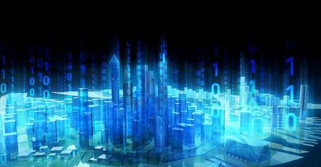 illustratie Zakelijke media stad communicatie binaire code