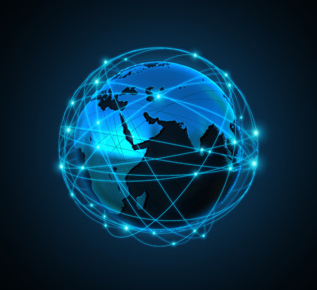 globe people: illustartion Internet Concept of global business Stock Photo