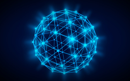 coordinated: Global network icon blue illustration black color background Stock Photo