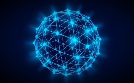 Global network icon blue illustration black color background Reklamní fotografie