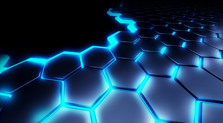 illustration honeycomb technology background blue