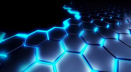 honeycombs: illustration honeycomb technology background blue